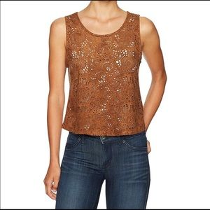 BB Dakota Faux Suede Laser Cut Paisley Top